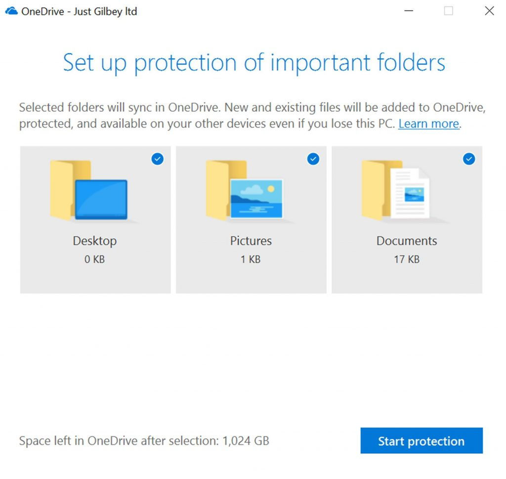Set Up Protection of Important Folders OneDrive